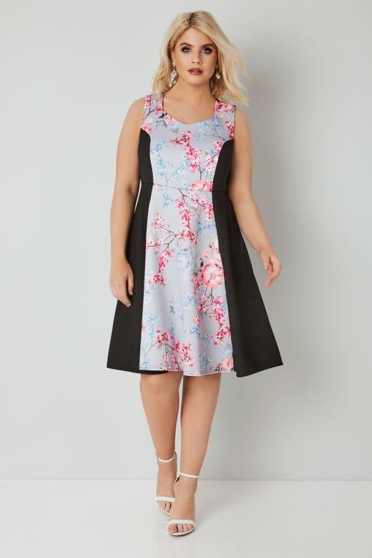 Grey & Multi Floral Scuba Skater Dress
