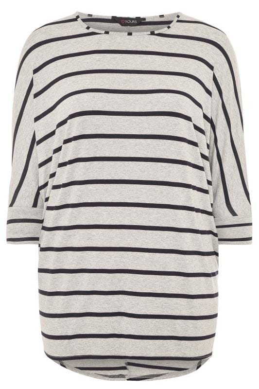 Grey & Black Stripe Extreme Dipped Hem Top