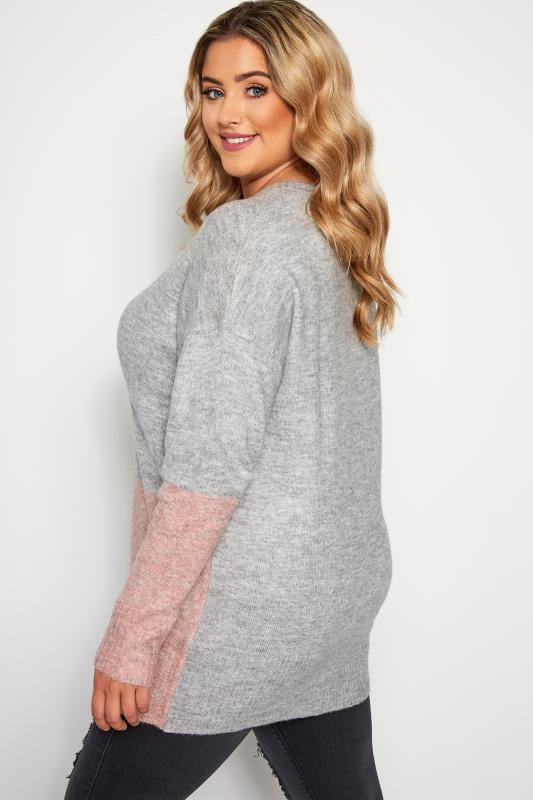 Grey Block Colour Knitted Jumper