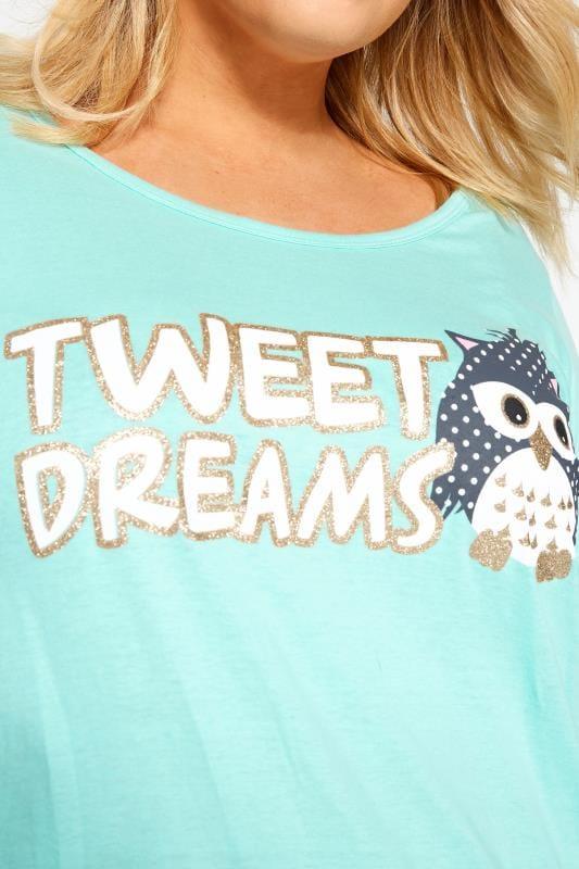 Grey & Blue Glitter Tweet Dreams Slogan Pyjama Set