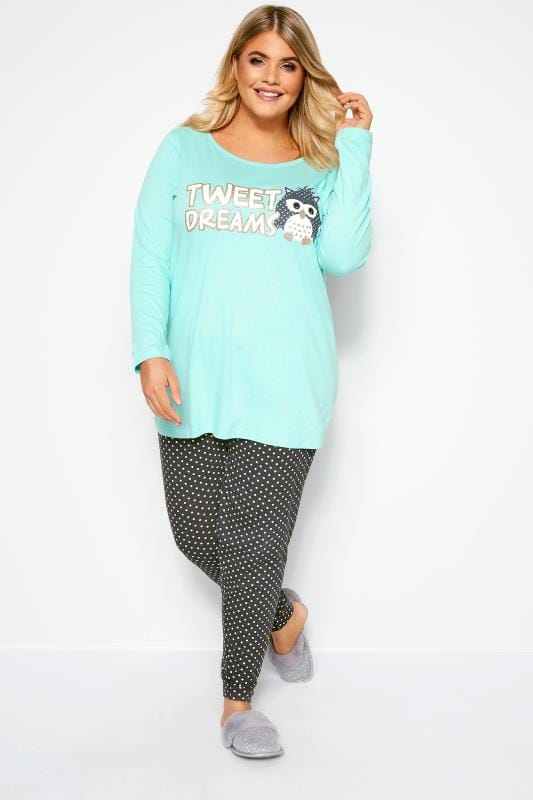 Plus Size Pyjamas Grey & Blue Glitter Tweet Dreams Slogan Pyjama Set