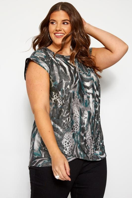 Plus Size Day Tops Grey & Blue Metallic Mixed Animal Print Top