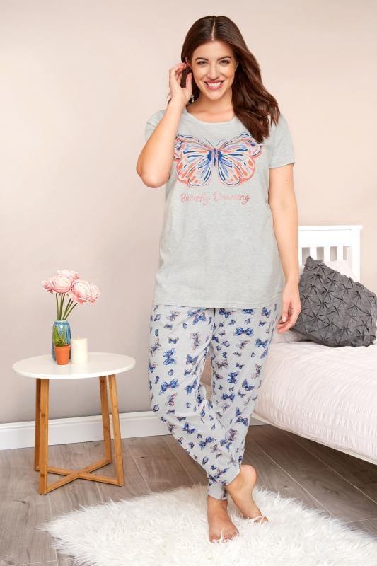 Plus Size Pyjamas Grey Butterfly Print Pyjama Set