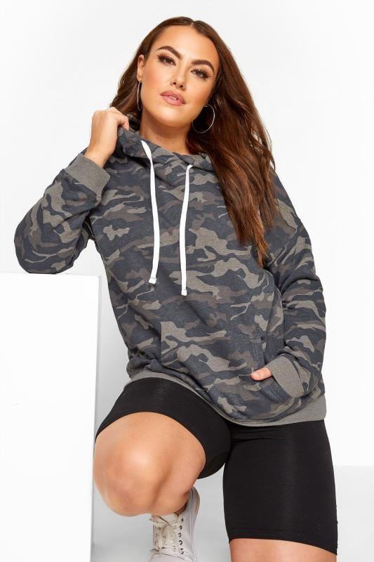 Plus Size Hoodies & Jackets Grey Camo Print Hoodie