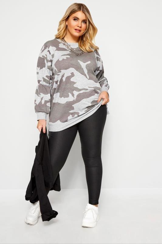 Plus Size Sweatshirts Grey Camo Sweatshirt