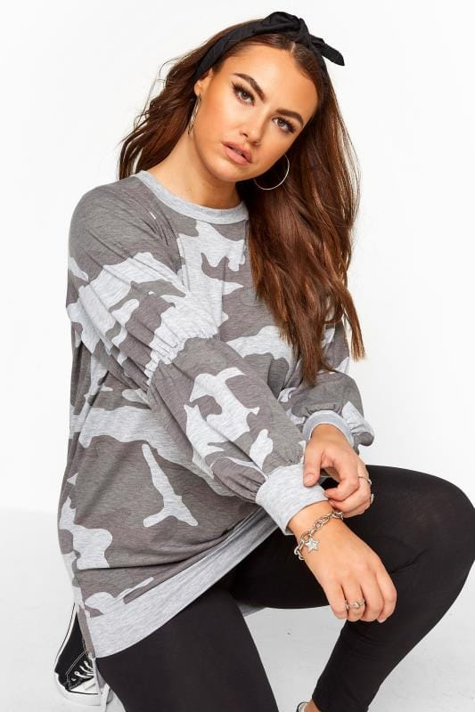 Plus Size Sweatshirts Grey Camo Sweatshirt
