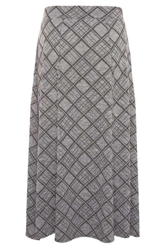 Grey Check Maxi Skirt