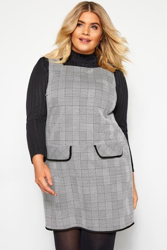 Grey Check Mock Pocket Tunic
