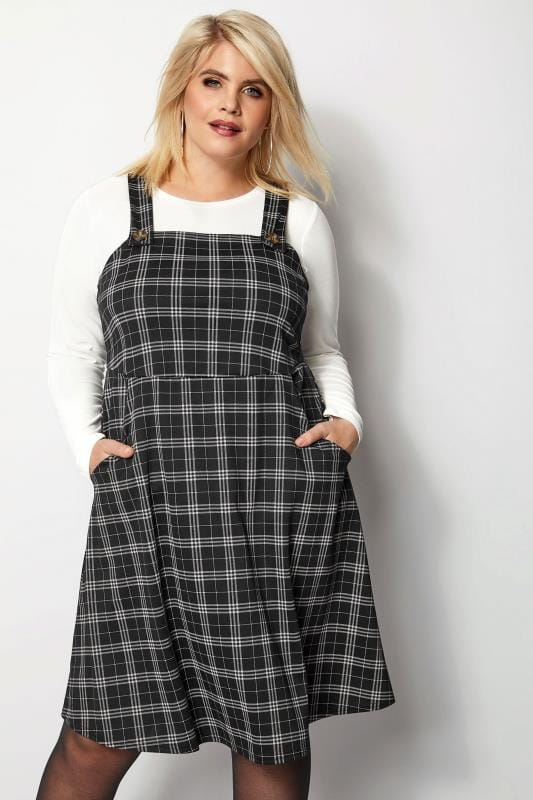 order price remains stable san francisco Grey Checked Button Pinafore Dress, Plus size 16 to 36