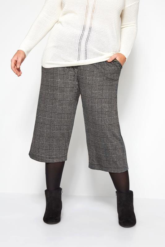 Grey Check Ponte Horn Button Culottes