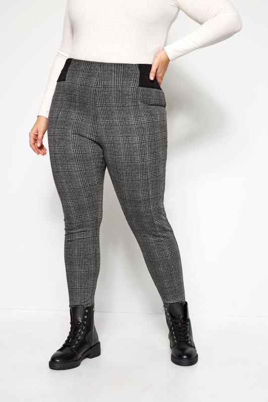 Plus Size Tapered & Slim Fit Trousers Grey Check Ponte Tapered Trousers