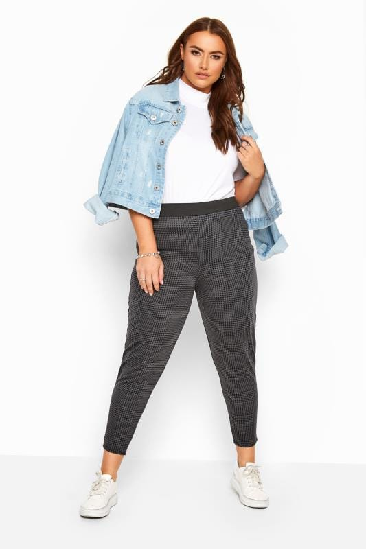 Plus Size Tapered & Slim Fit Trousers Grey Check Ponte Trousers