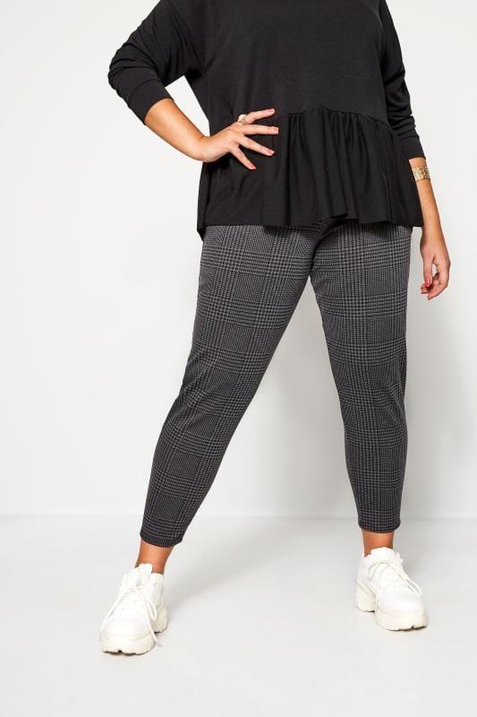 Plus Size Tapered & Slim Leg Pants Grey Check Ponte Trousers