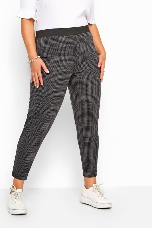 Grey Check Ponte Trousers