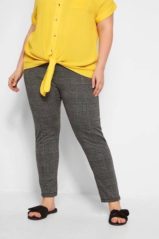 Plus Size Tapered & Slim Leg Pants Grey Check Ponte Trousers With Elasticated Panels