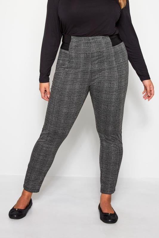 Plus Size Tapered & Slim Leg Pants Grey Check Ponte Tapered Trousers