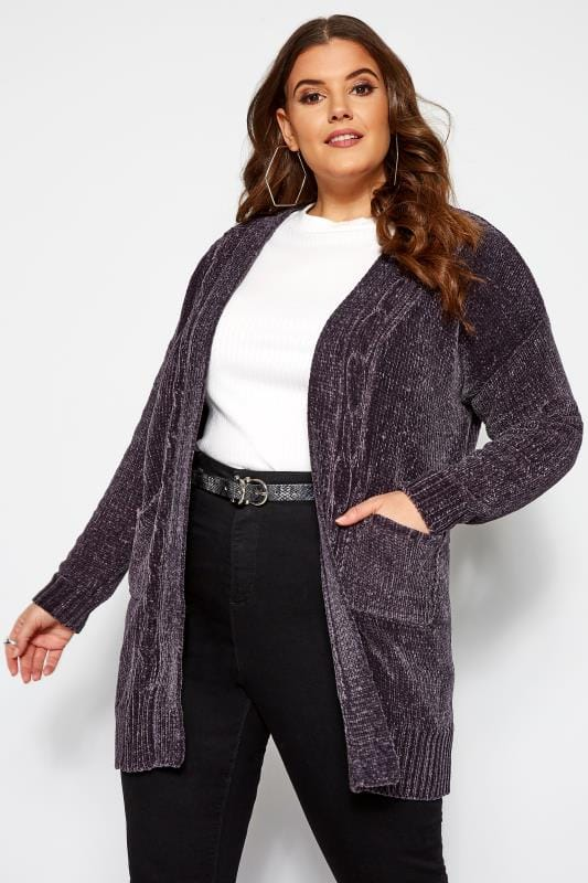 Plus Size Cardigans Grey Chenille Knitted Cardigan