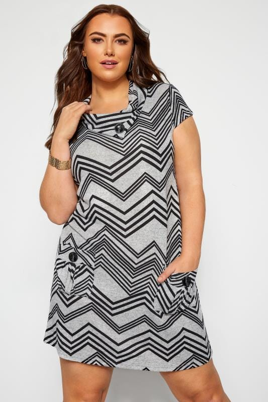 Plus Size Tunics Grey Chevron Cowl Neck Tunic Dress