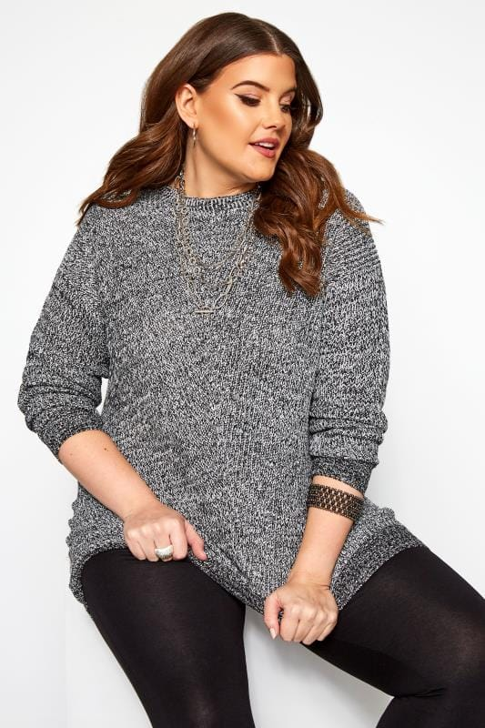 Plus Size Jumpers Grey Chunky Knitted Jumper