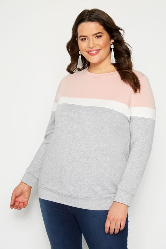 Grey Colour Block Sweatshirt