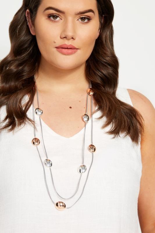 Plus-Größen Plus Size Jewellery Grey Cord Pebble Necklace
