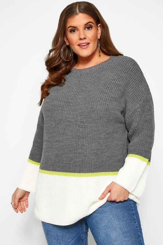Plus Size Sweaters Grey & Cream Colour Block Jumper