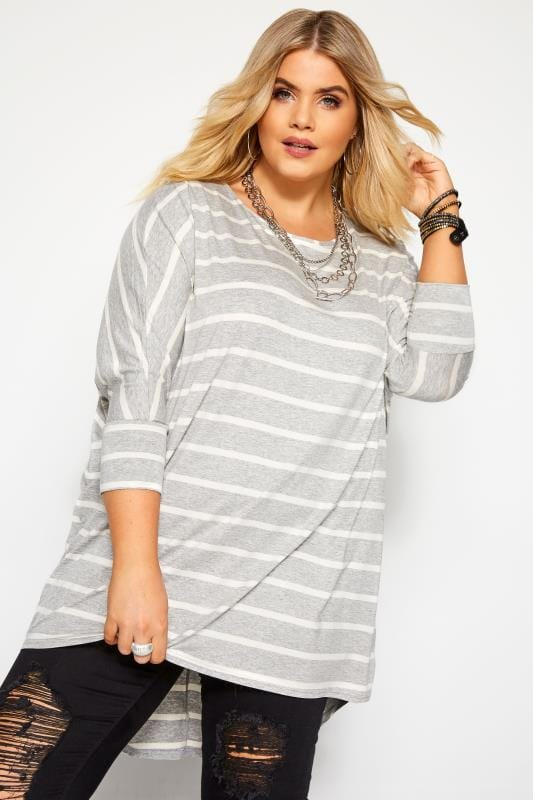 Plus Size Dipped Hem Tops Grey & Cream Stripe Extreme Dipped Hem Top