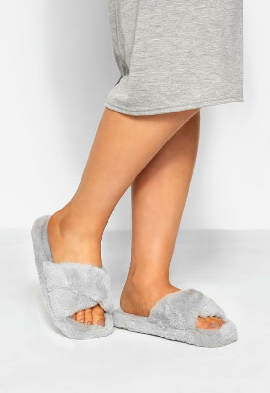Plus Size Slippers Grey Cross Over Slippers In Wide Fit