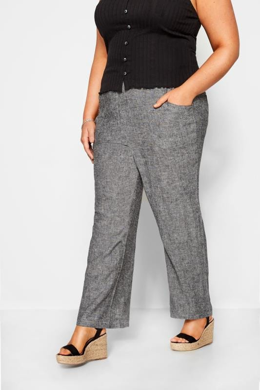 Plus Size Linen Mix Trousers Grey Crosshatch Linen Wide Leg Trousers
