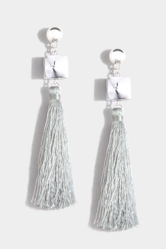 Grey Cube Tassel Drop Earrings