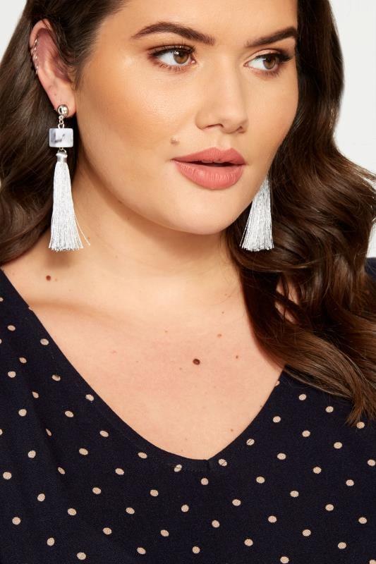 Plus Size Earrings Grey Cube Tassel Drop Earrings