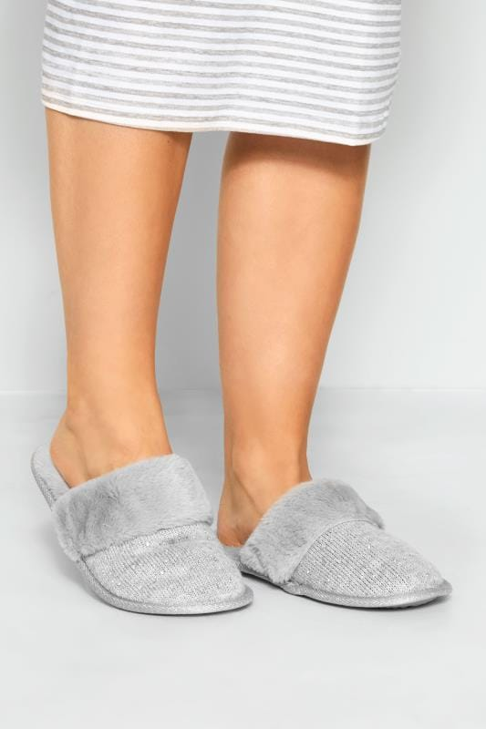 Grey Diamante Faux Fur Slippers In Extra Wide Fit
