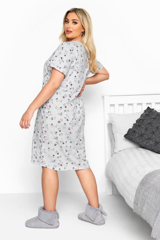 Grey Dog Print Dipped Hem Nightdress