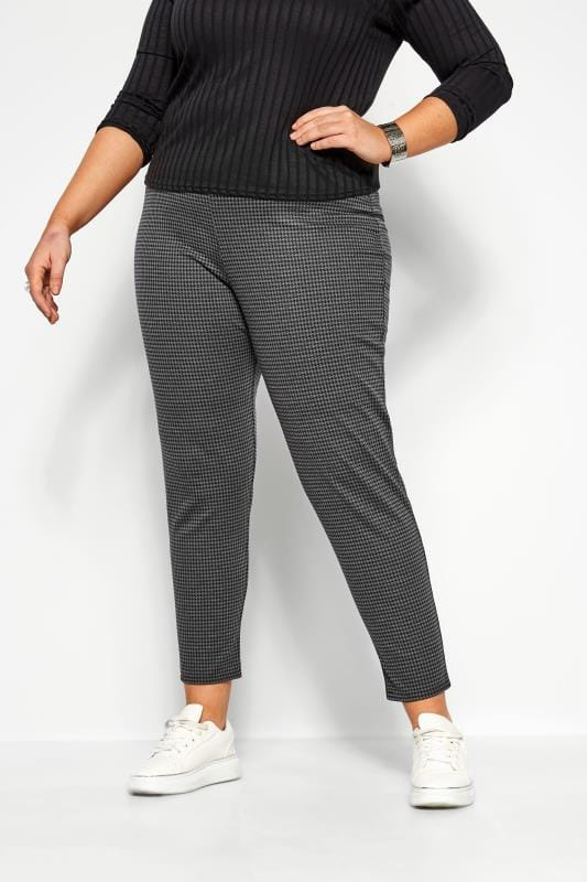 Plus Size Tapered & Slim Fit Trousers Grey Dogtooth Ponte Trousers
