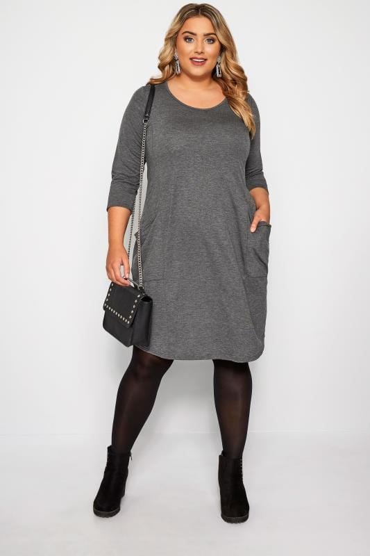 Grey Drape Pocket Dress