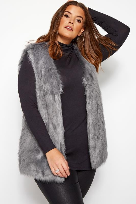 Plus Size Gilets Grey Faux Fur Gilet