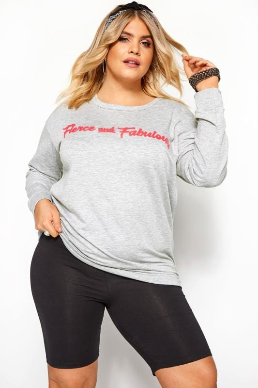 Plus Size Sweatshirts & Hoodies Grey 'Fierce & Fabulous' Slogan Sweatshirt