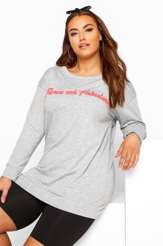 Grey 'Fierce & Fabulous' Slogan Sweatshirt