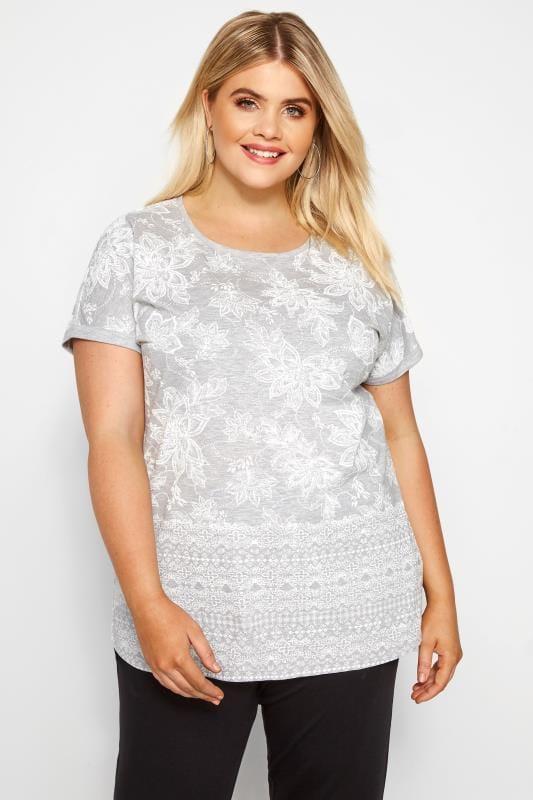 Plus Size Floral Tops Grey Floral Border T-Shirt