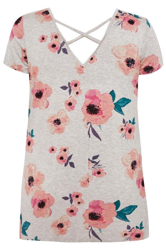 Grey Floral Cross Back T-Shirt