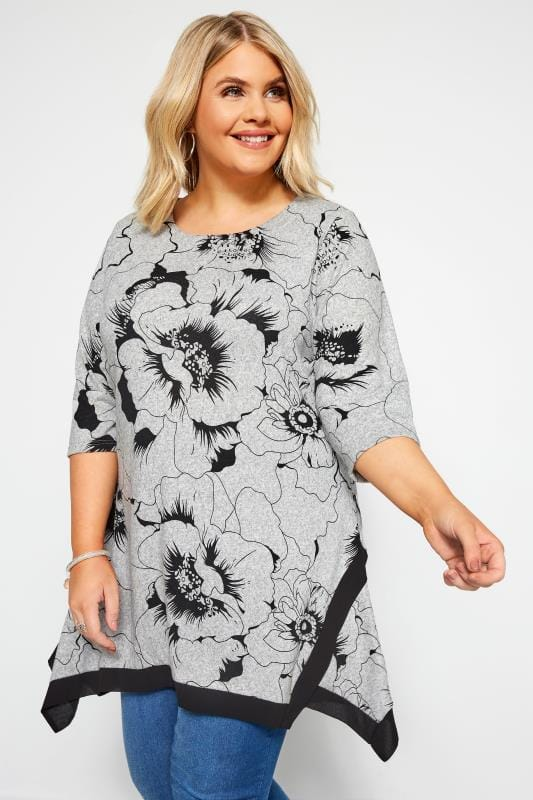 Plus Size Smart Jersey Tops Grey Floral Hanky Hem Swing Top
