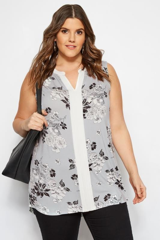 Plus Size Jersey Tops Grey Floral Pintuck Top
