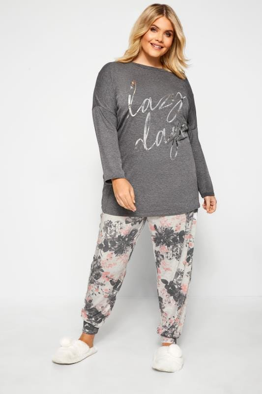 Plus Size Loungewear Grey Foil 'Lazy Days' Slogan Lounge Set