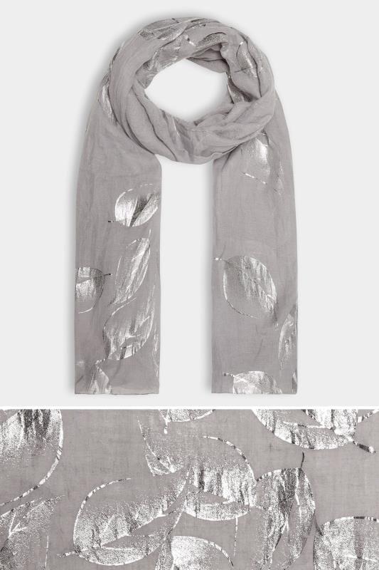 Grey Foil Leaf Print Scarf