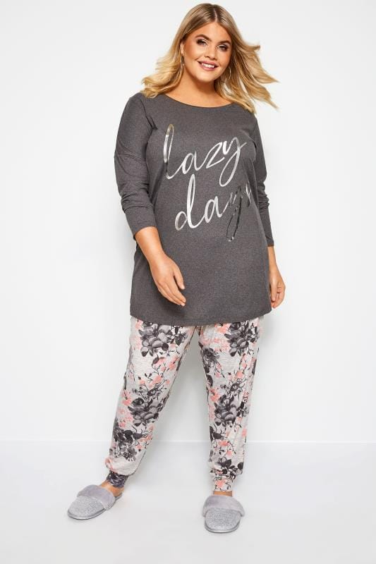 loungewear Lounge - Grijze combi-set met bloemenprint en 'Lazy days' slogan