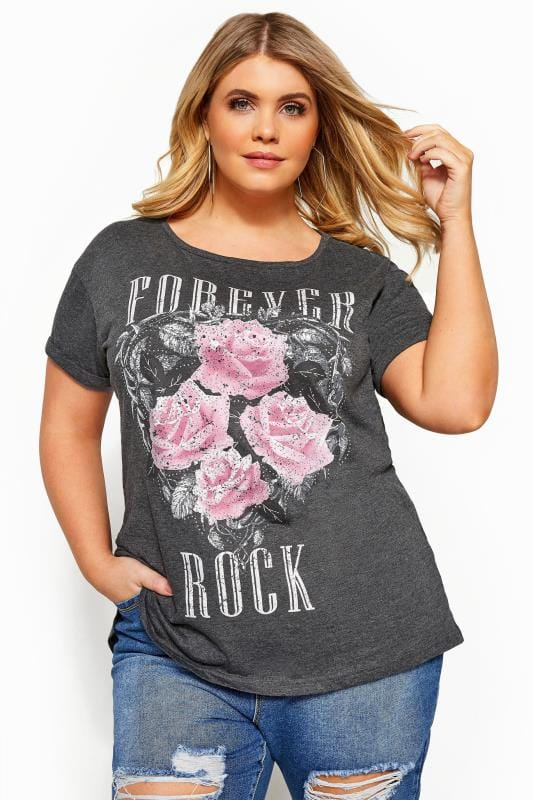 Plus Size Jersey Tops Grey 'Forever Rock' Slogan Rock T-Shirt