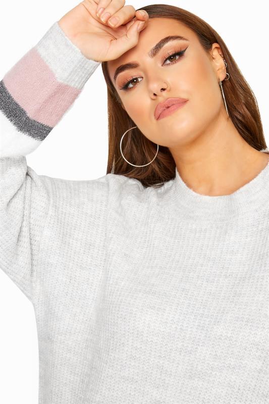 Glitzer-Strickpullover mit Color-Block - Grau/Pink