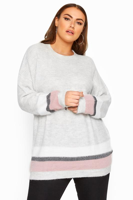 Plus Size Jumpers Grey Glitter Colour Block Hem Knitted Jumper