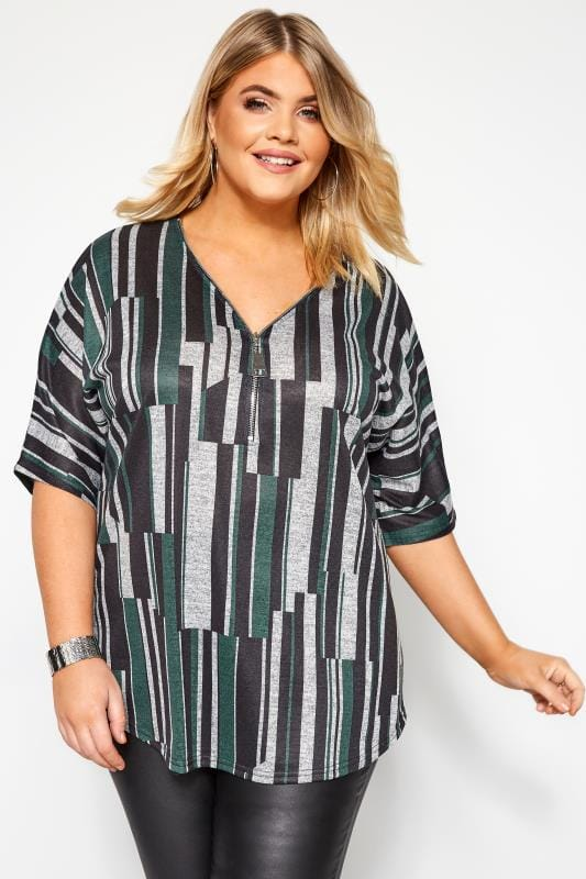 Plus Size Day Tops Grey & Green Abstract Stripe Zip Neck Top