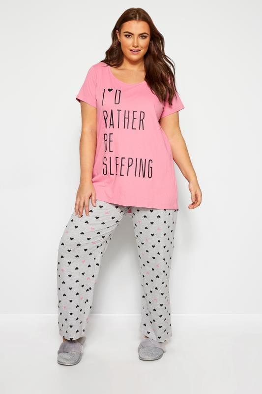 Grey Heart Print Pyjama Bottoms